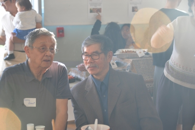 Elder Larry Grant of the Musqueam band with Richard Tong of Taiwan Community Association