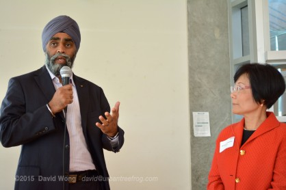 Minister of National Defense Harjit Sajjan with PCHC-MoM Executive Director Winnie Cheung