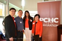 PCHC-MoM Director David Wong, Elder Larry Grant of the Musqueam nation, NDP Party Candidate Amandeep Nijjar, and PCHC-MoM President Winnie Cheung