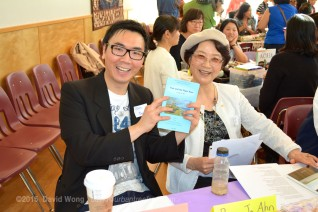 Allan Cho and Bong Ja Ahn share stories at the VAHMS/explorAsian table