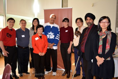 PCHC-MoM Vice President David Wong, Elder Larry Grant of the Musqueam nation, UBC Student Sarah Ling, PCHC-MoM President Winnie Cheung, PCHC-MoM Vice President Harbhajan Gill, Deputy Mayor Andrea Reimer, PCHC-MoM Treasurer Henry Yu, Komagata Maru Heritage Foundation's Raj Toor, and Head of Asian Library Hana Kim