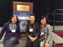 Liza Wajong of the Canada Indonesia Diaspora Society and Tineke and Winnie from PCHC-MoM relax after the BC Multicultural Awards