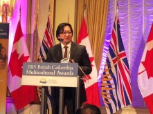 Dr. Henry Yu, President of St. John's College and Director for PCHC-MoM speaks after receiving a BC Multicultural Award