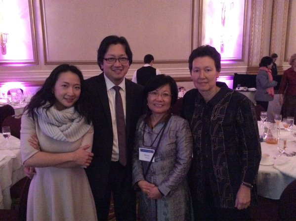 BC Multicultural Award winner Henry Yu celebrates with wife Ai and PCHC-MoM's Winnie and Tineke over dinner