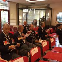 Chinese-Canadian WWII veterans wait for the speeches to commence
