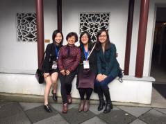 Filmmakers Christy Fong, Sarah Ling, and Denise Fong with PCHC's Winnie Cheung at VAFF's Filmmaker Luncheon at the Sun-Yat Sen Classical Chinese Garden