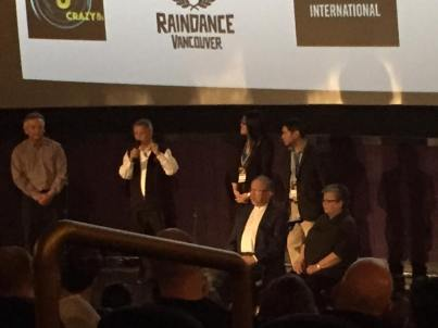 The Grant family and AOFR team at a Q&A after the screening of All Our Father's Relations