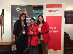 Filmmaker Sarah Ling with PCHC and explorASIAN's Eleanor Munk with Youth Collaborative for Chinatown's Jean Tsai at the Filmmaker's Luncheon