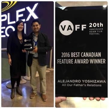 "Alejandro Yoshizawa and Sarah Ling celebrate their big win of ""Best Canadian Feature Award"""