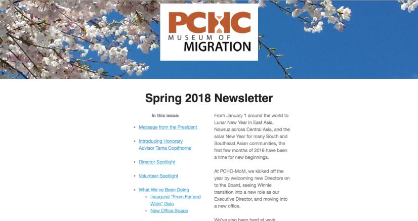 PCHC Spring 2018 Newsletter