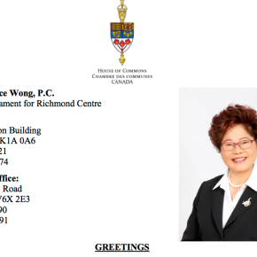 Greetings from Honourable Alice Wong