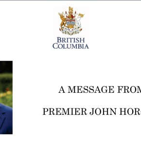 Greetings from Premier John Horgan